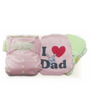Cutie Pink I Love Dad Cloth Diaper