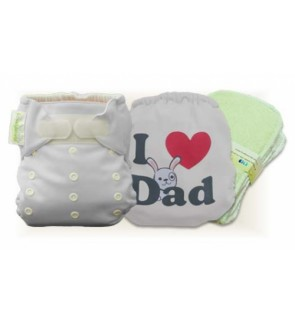 Milky White I Love Dad Cloth Diaper