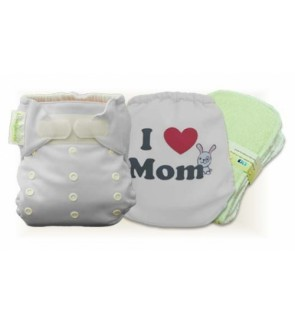 Milky White I Love Mom Cloth Diaper