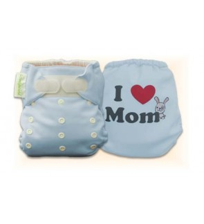 Tiffany Blue I Love Mom Diaper Cover Only